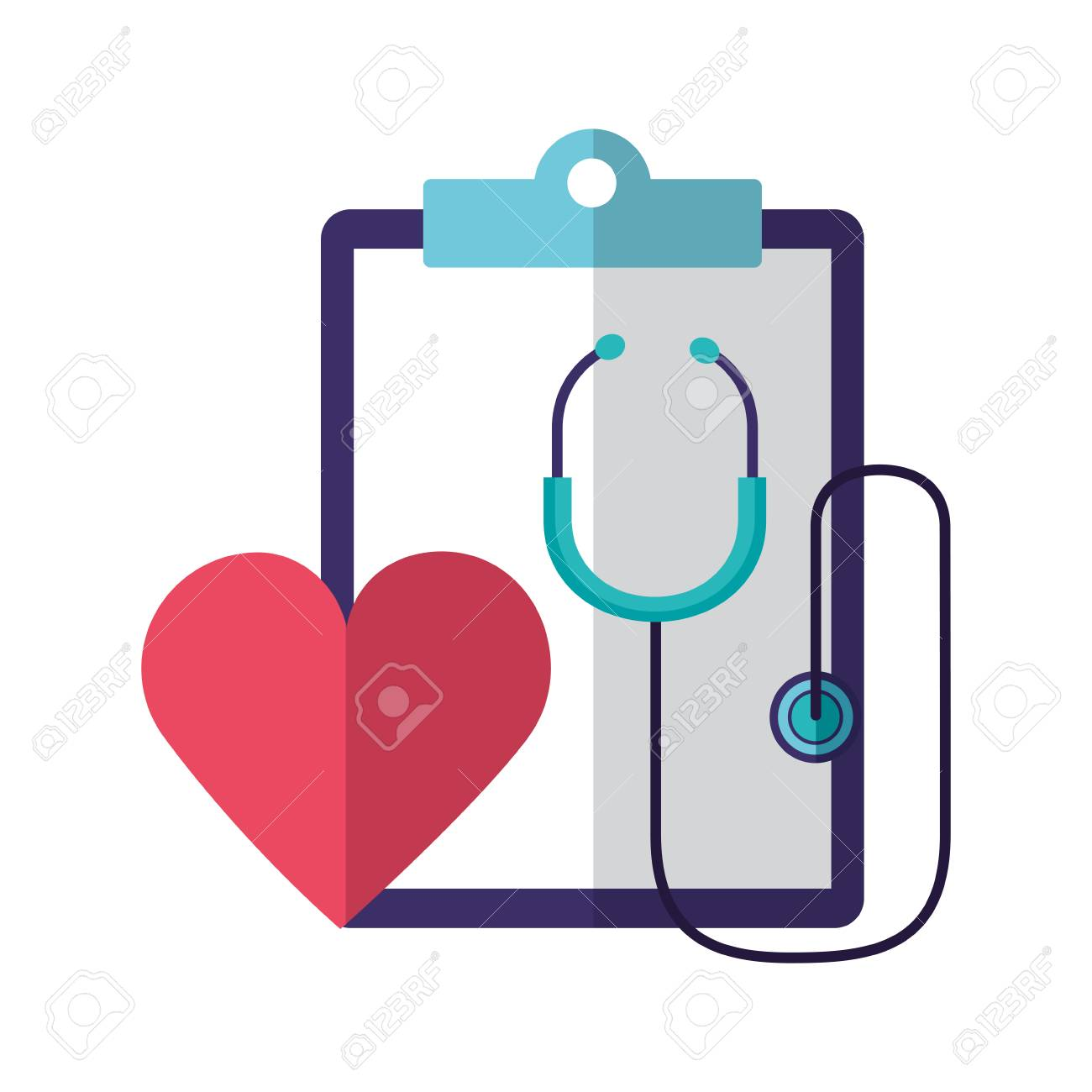 heartbeat stethoscope clipboard report world health day vector illustration - 124715345