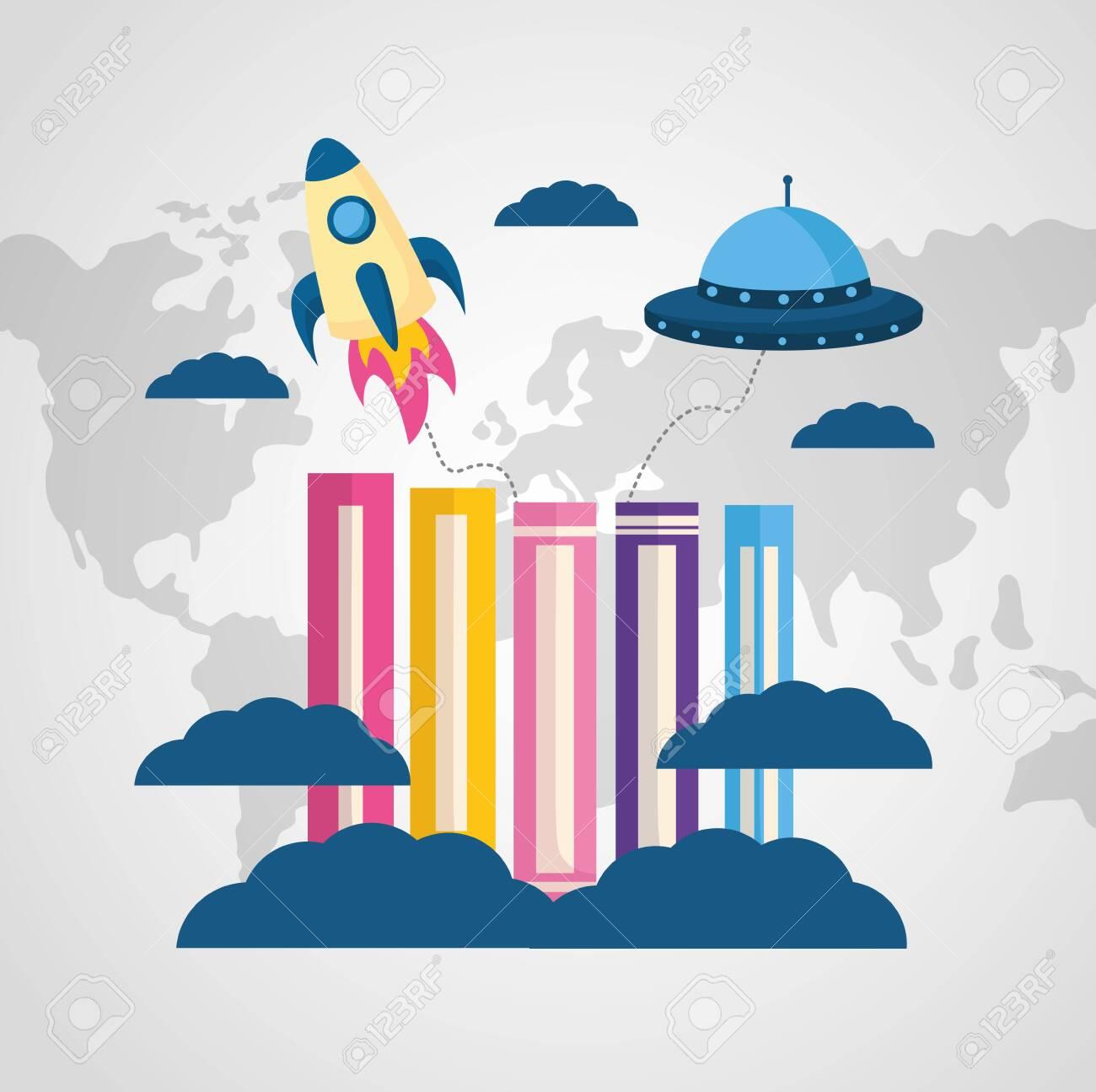 world book day travle rocket ufo imagination vector illustration - 124576802