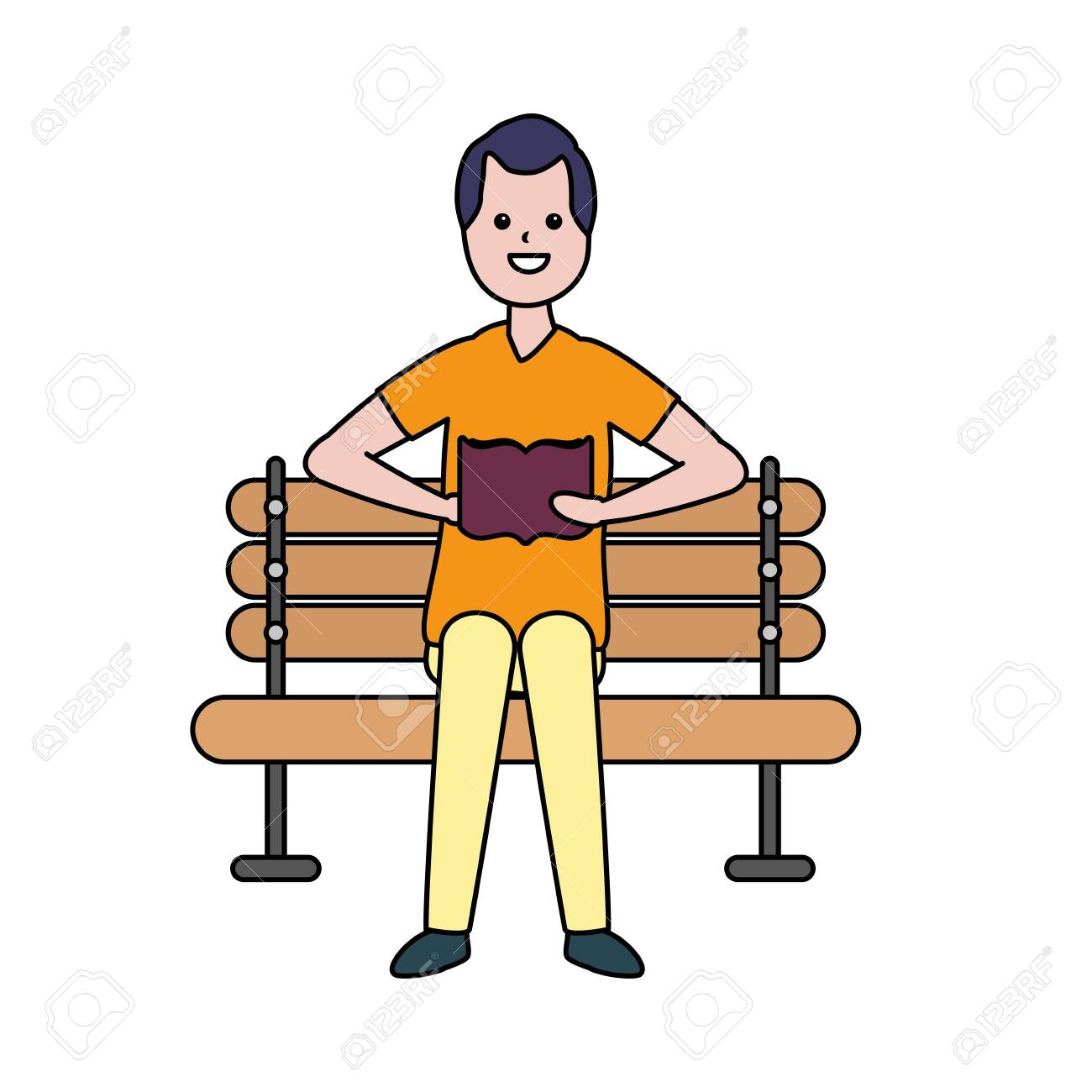 man reading book in the bench vector illustration - 124334562