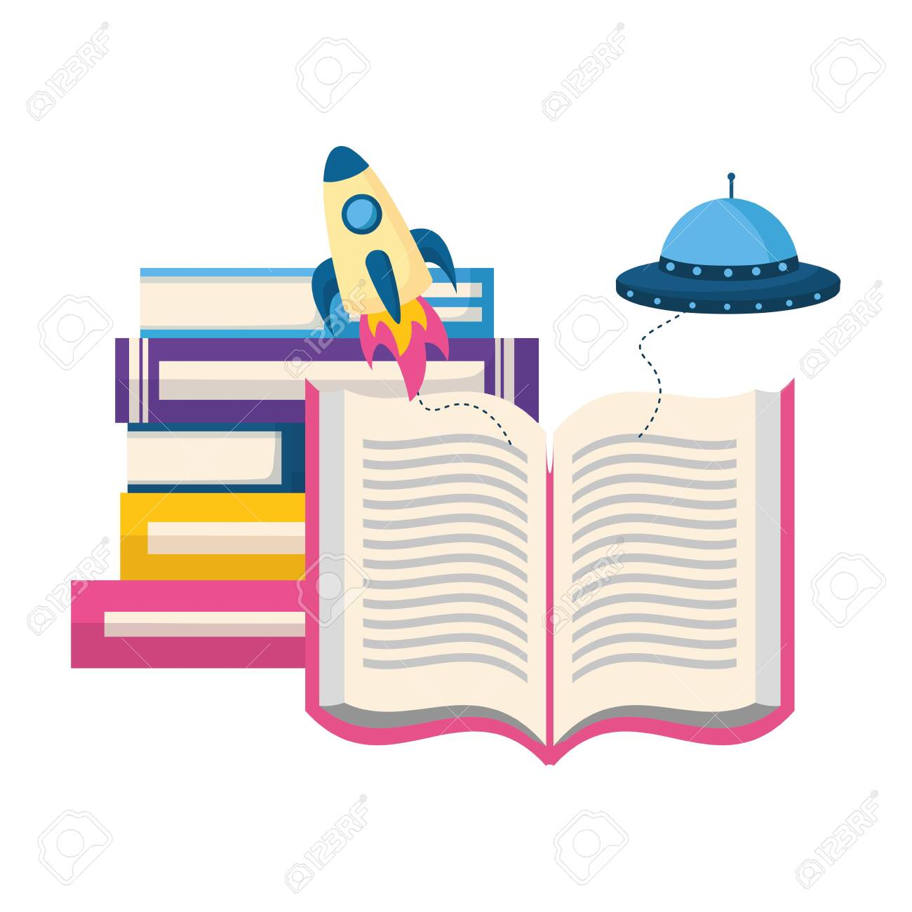 world book day fantasy fiction travel vector illustration - 124334750