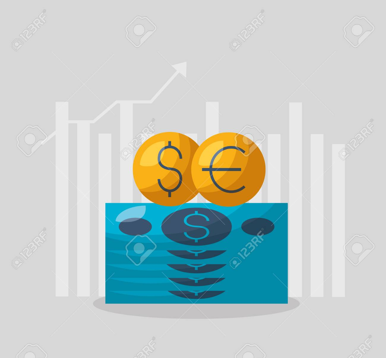 money dollar euro chart financial stock market vector illustration - 119178210