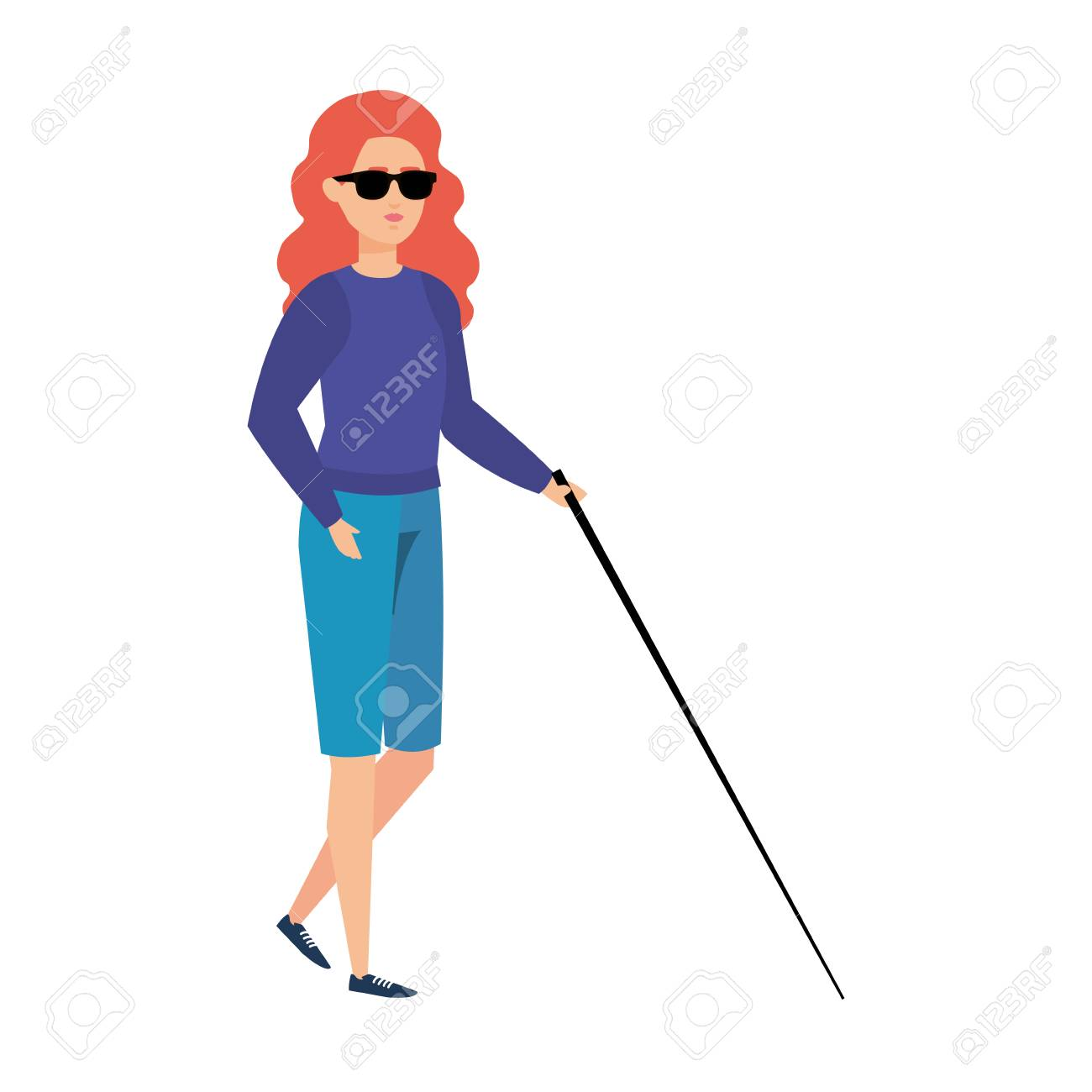 blind woman with walking stick vector illustration design - 119188299