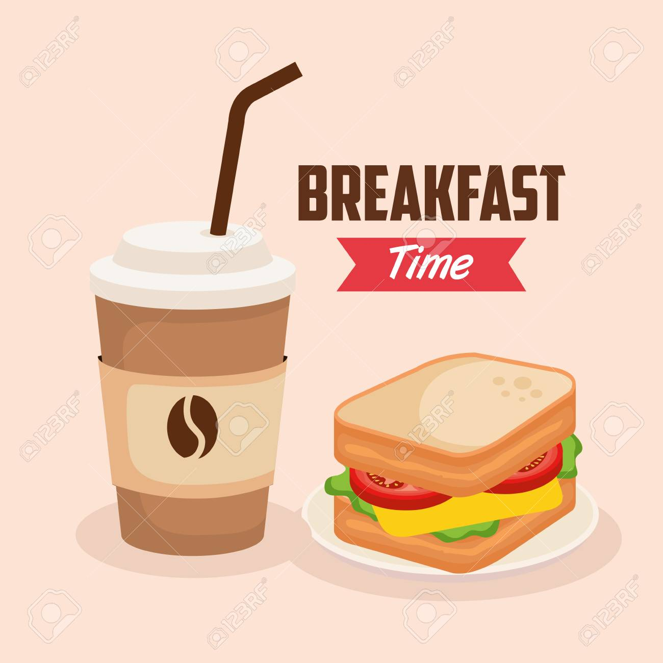 delicious sandwich with coffee plastic cup vector illustration - 119208419
