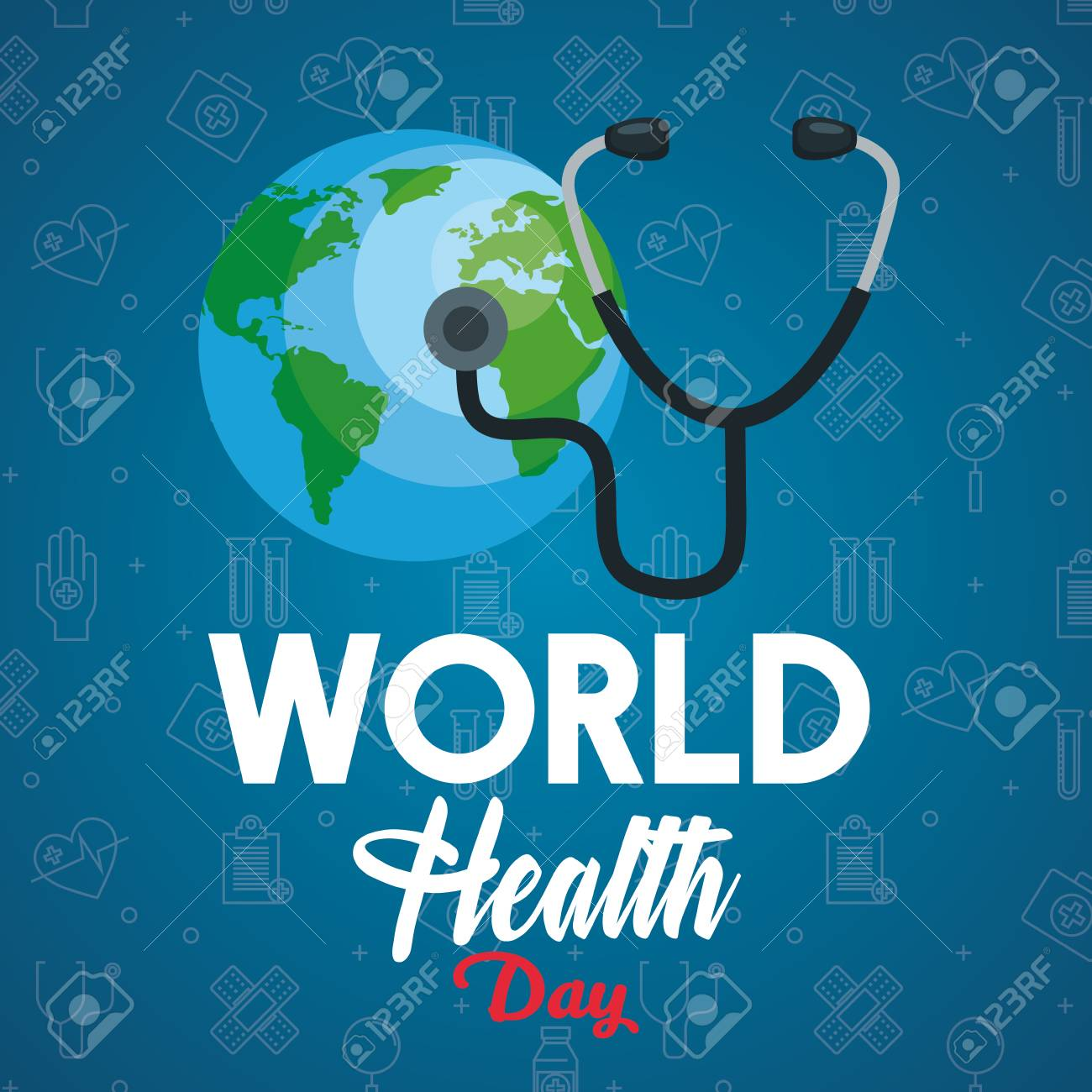 stethoscope examination earth planet to health day vector illustration - 119237339