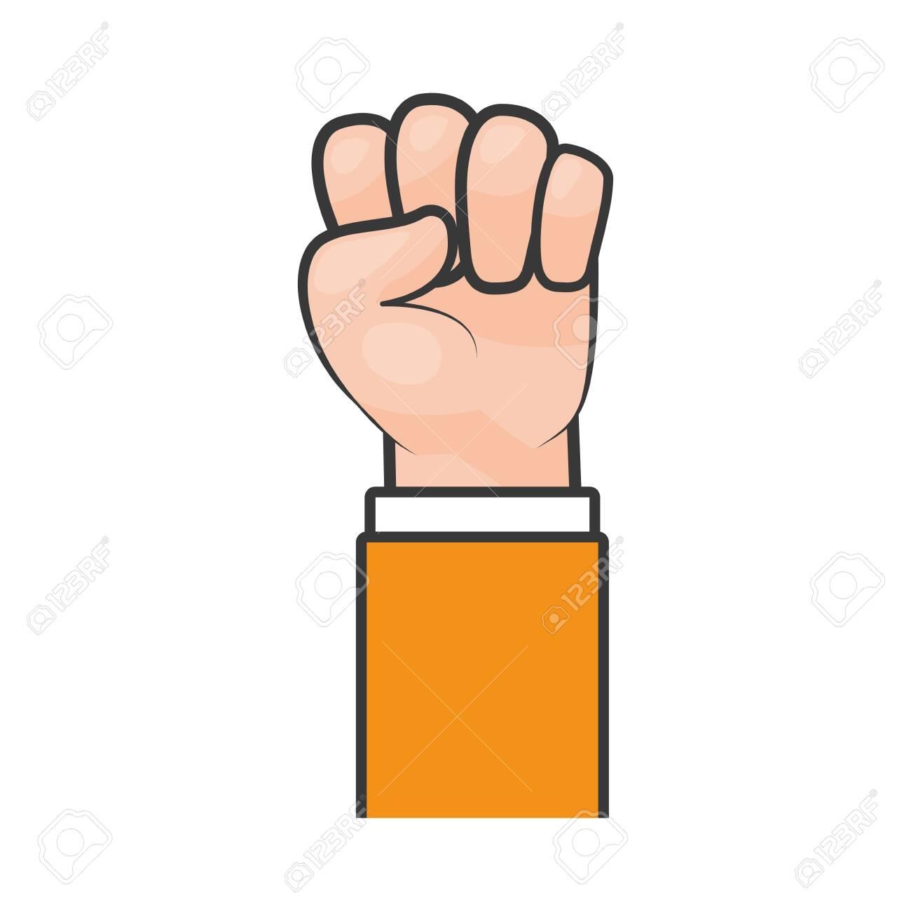 happy labour day hand raised fist vector illustration - 124268422