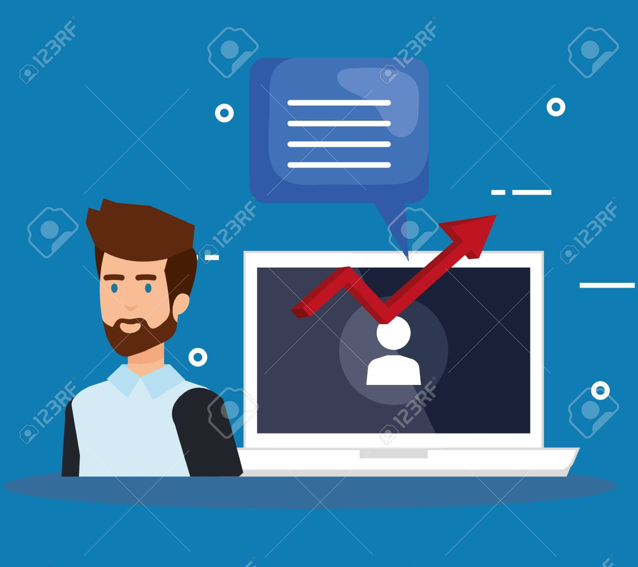 man with laptop and speech bubble vector illustration design - 124175322