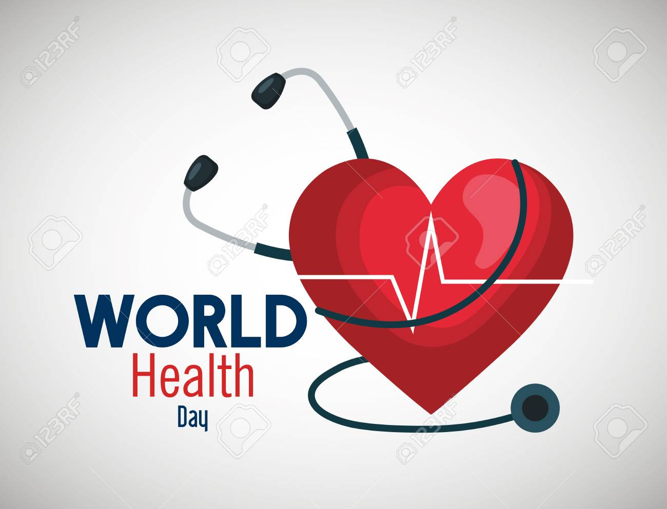 stethoscope with heartbeat to world health day vector illustration - 119757007
