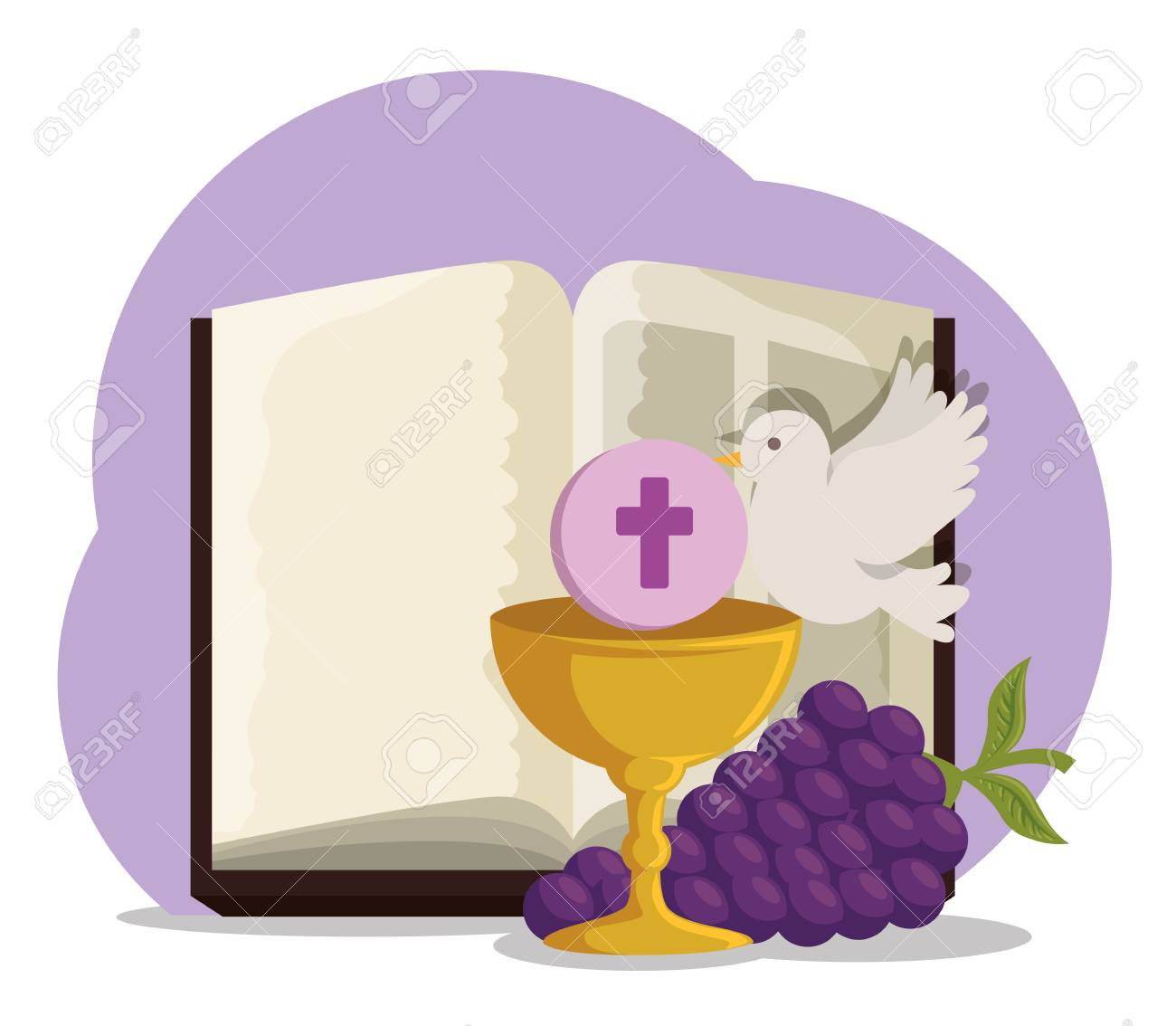 bible with chalice and grapes to first communion vector illustration - 119757331