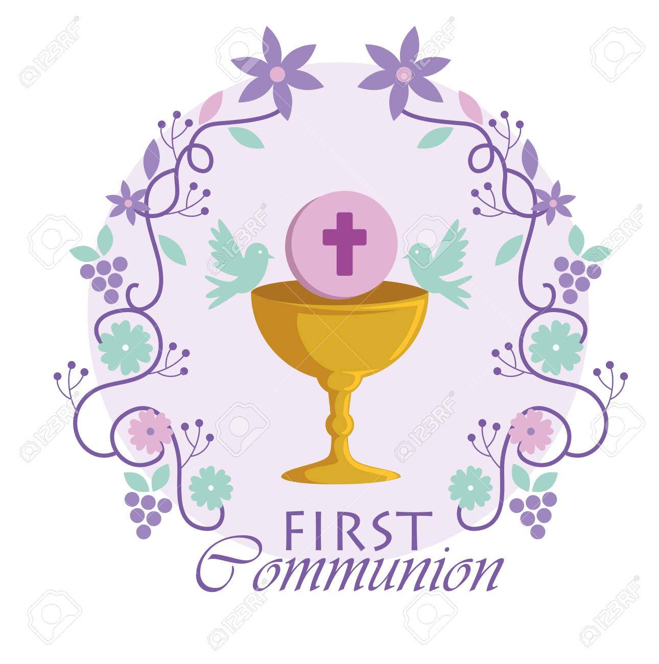 Chalice with holy host and branches to traditional event vector illustration - 119808453