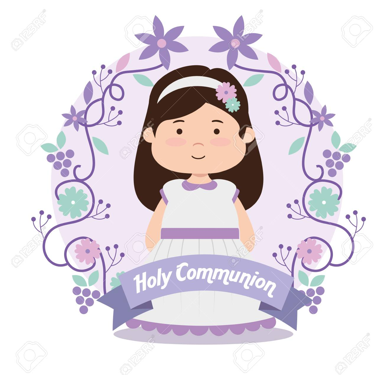 A girl with dress and ribbon to first communion vector illustration - 119808452