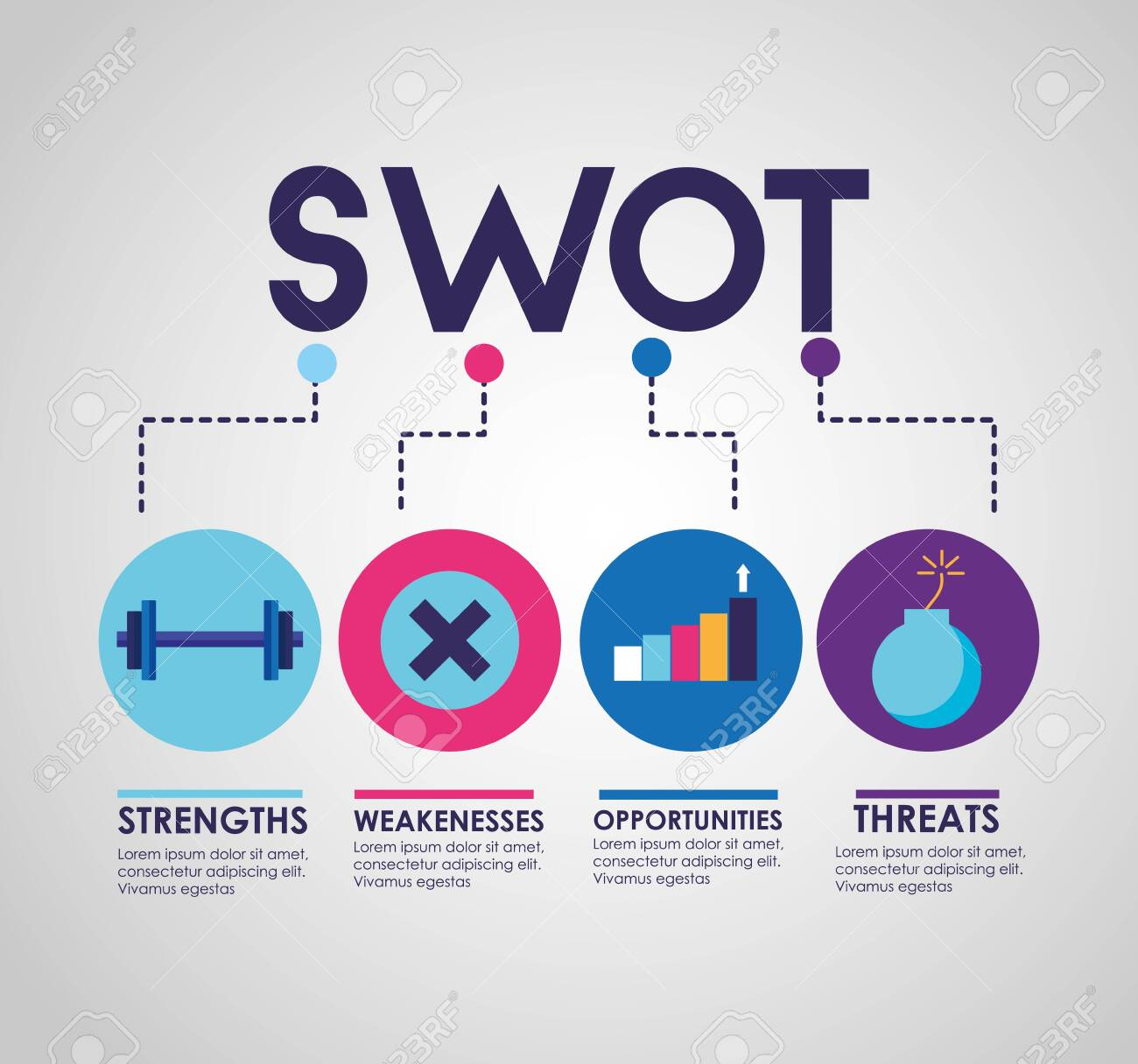 swot infographic analysis, colors graphic stats vector illustration - 124146648