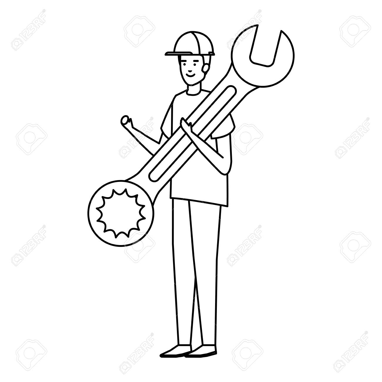 builder worker with helmet and wrench vector illustration design - 120350090
