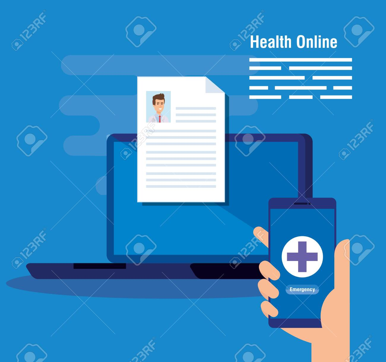 laptop technology with doctor document and smartphone vector illustration - 123873562