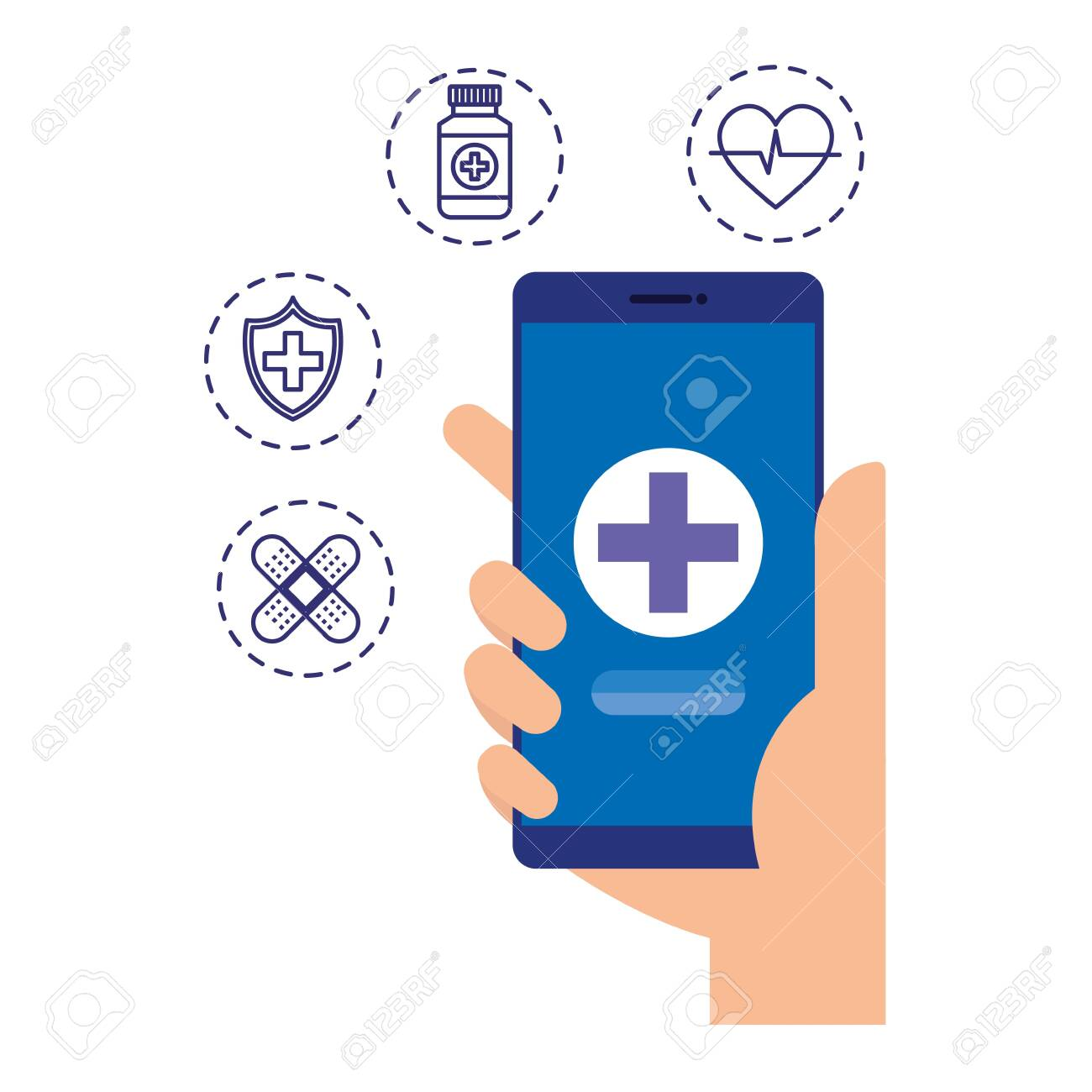 hand using smartphone with telemedicine icons vector illustration design - 123873827