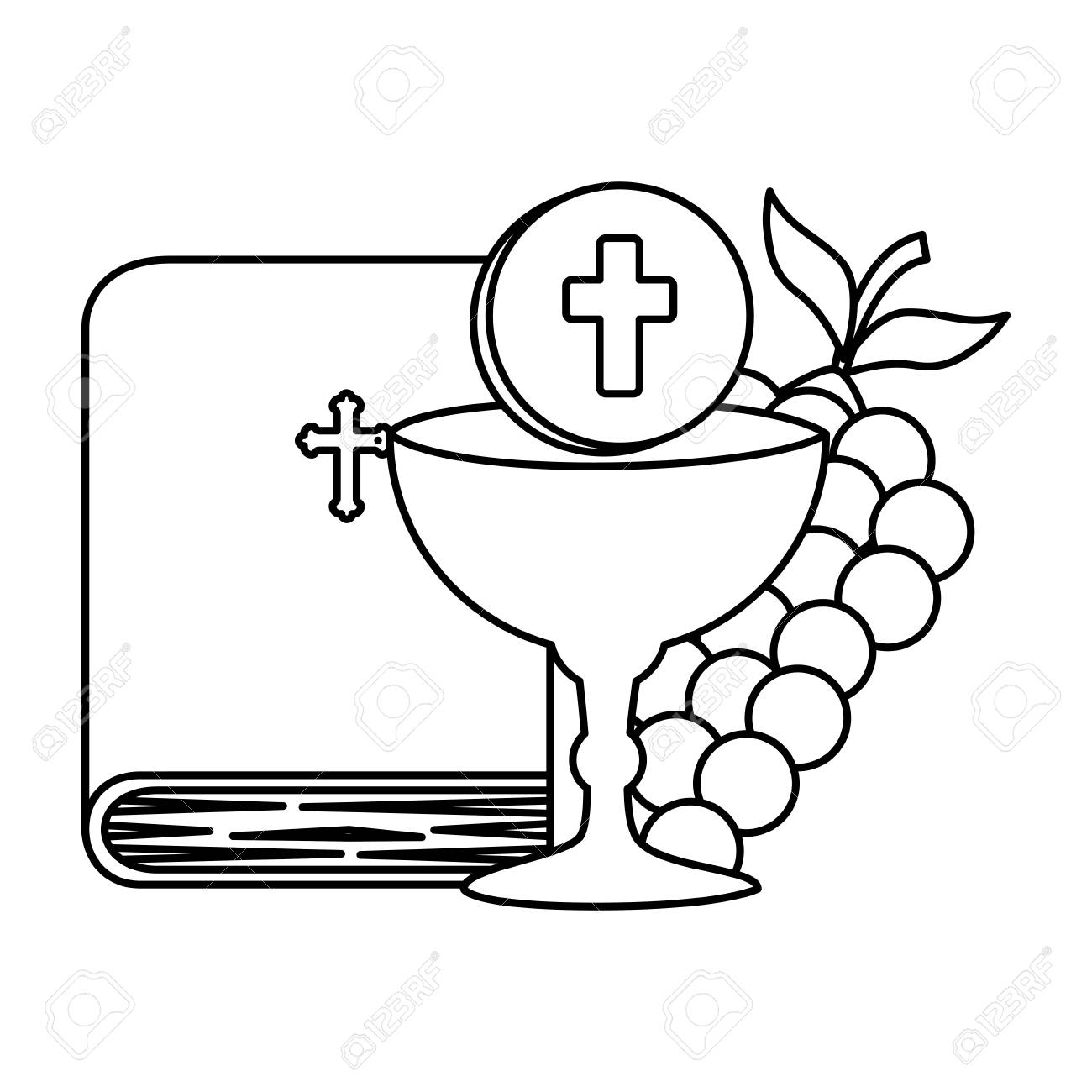 holy bible with chalice and grapes vector illustration design - 120488087