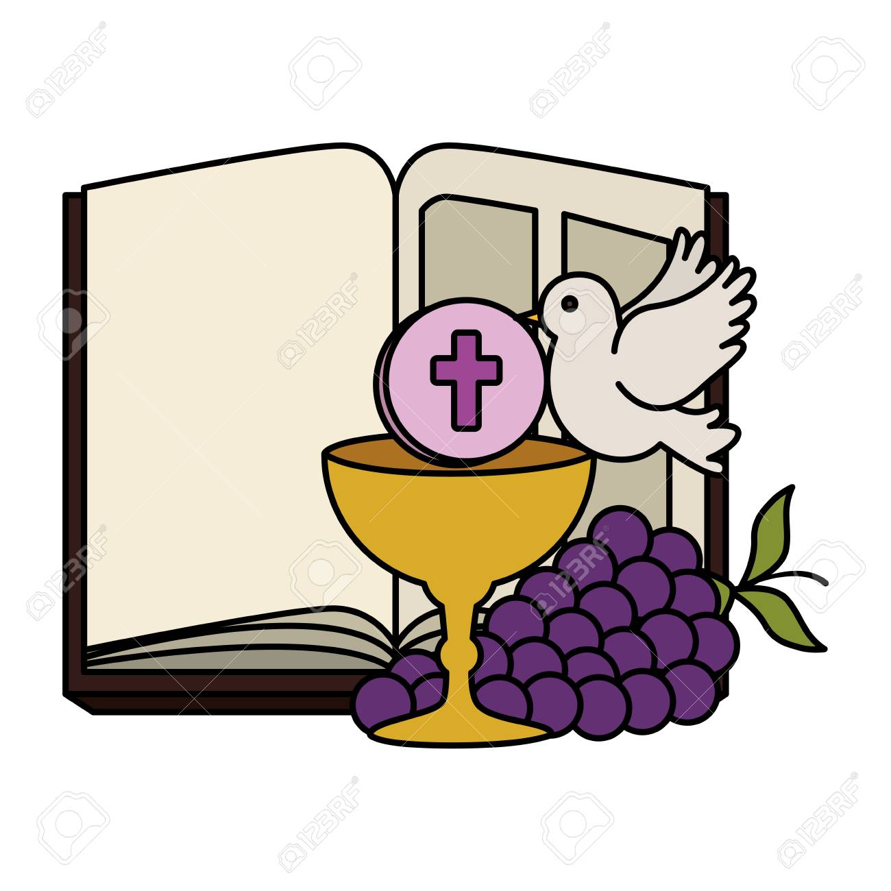holy bible with chalice and grapes vector illustration design - 121009137