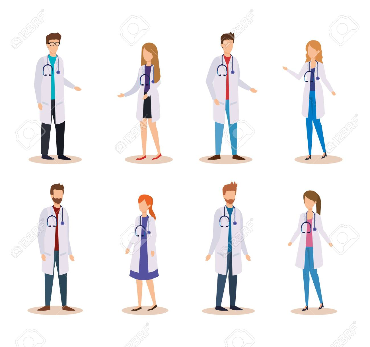 set professional women and men doctors with stethoscope vector illustration - 123488203