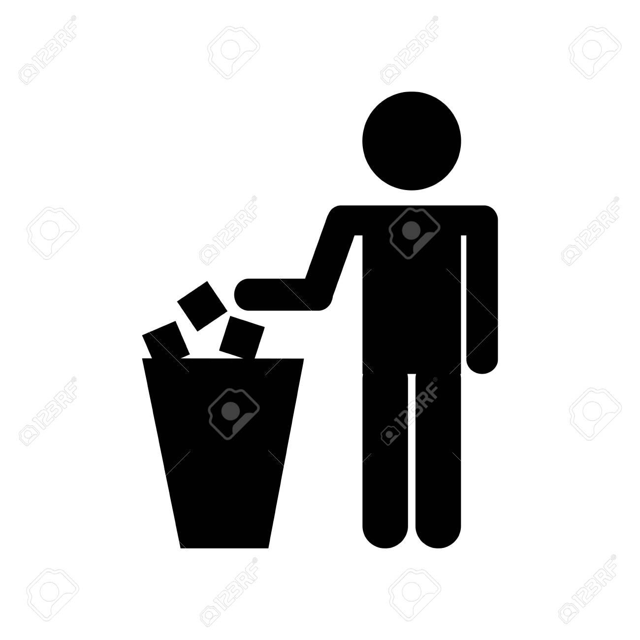 person silhouette with garbage bin vector illustration design - 121010913