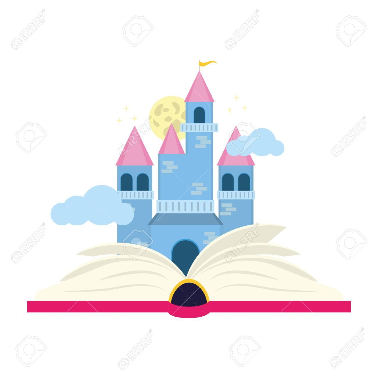 textbook fairy castle world book day vector illustration - 121063126