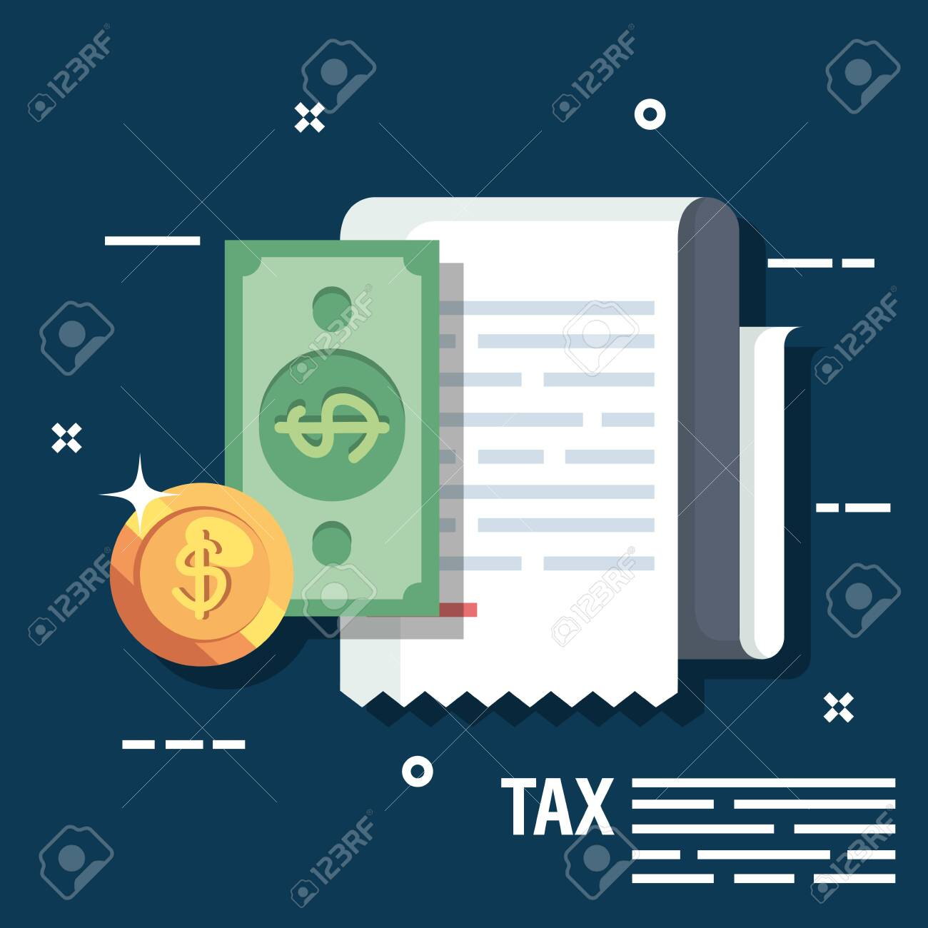 invoice report with biil and coin money vector illustration - 123351579