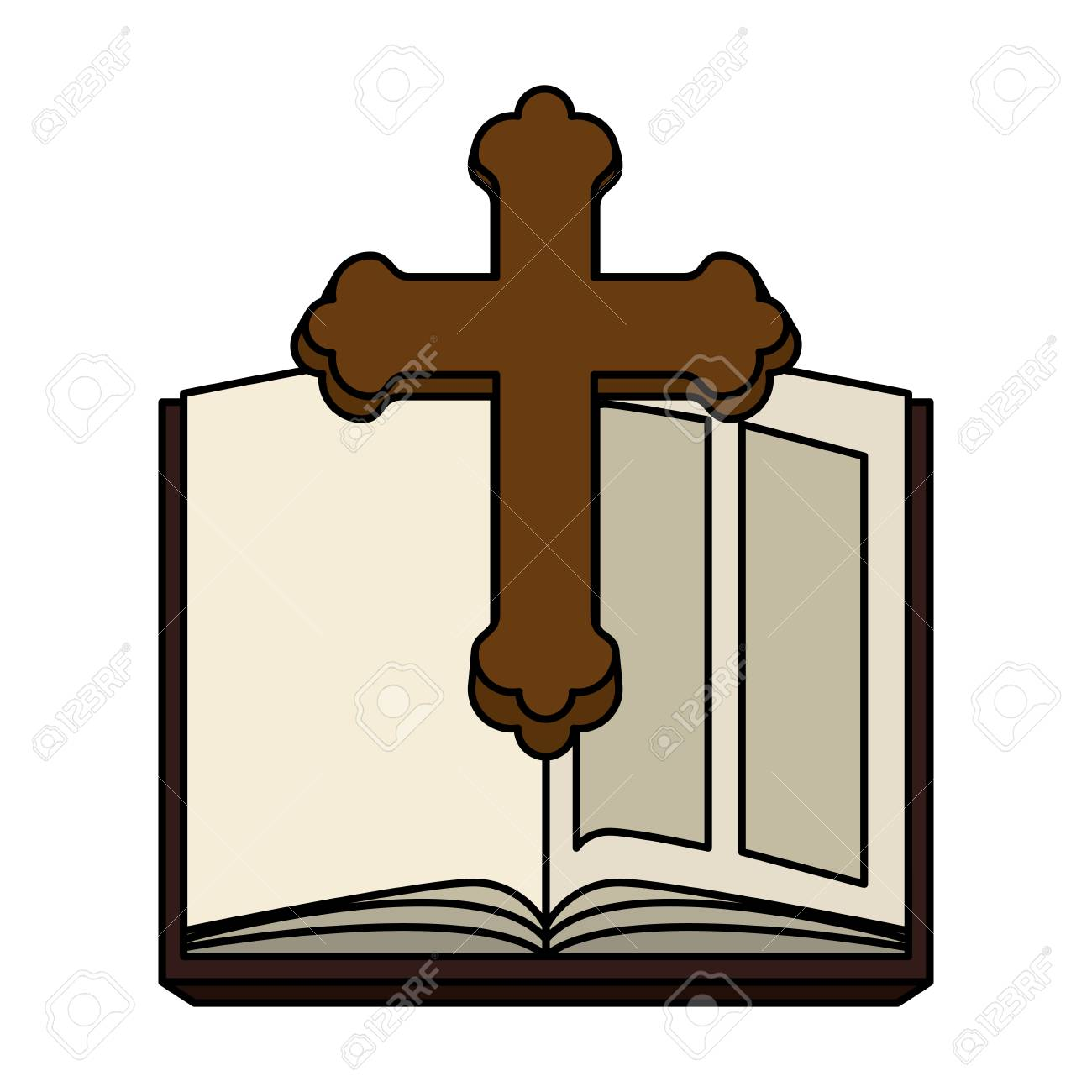holy bible with wooden cross vector illustration design - 121096636