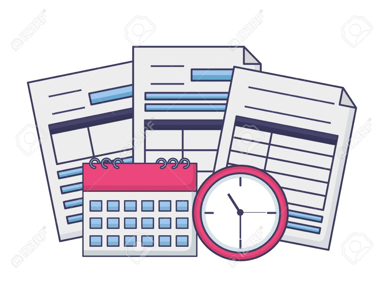 tax payment documents calculator calendar clock vector illustration - 122996255