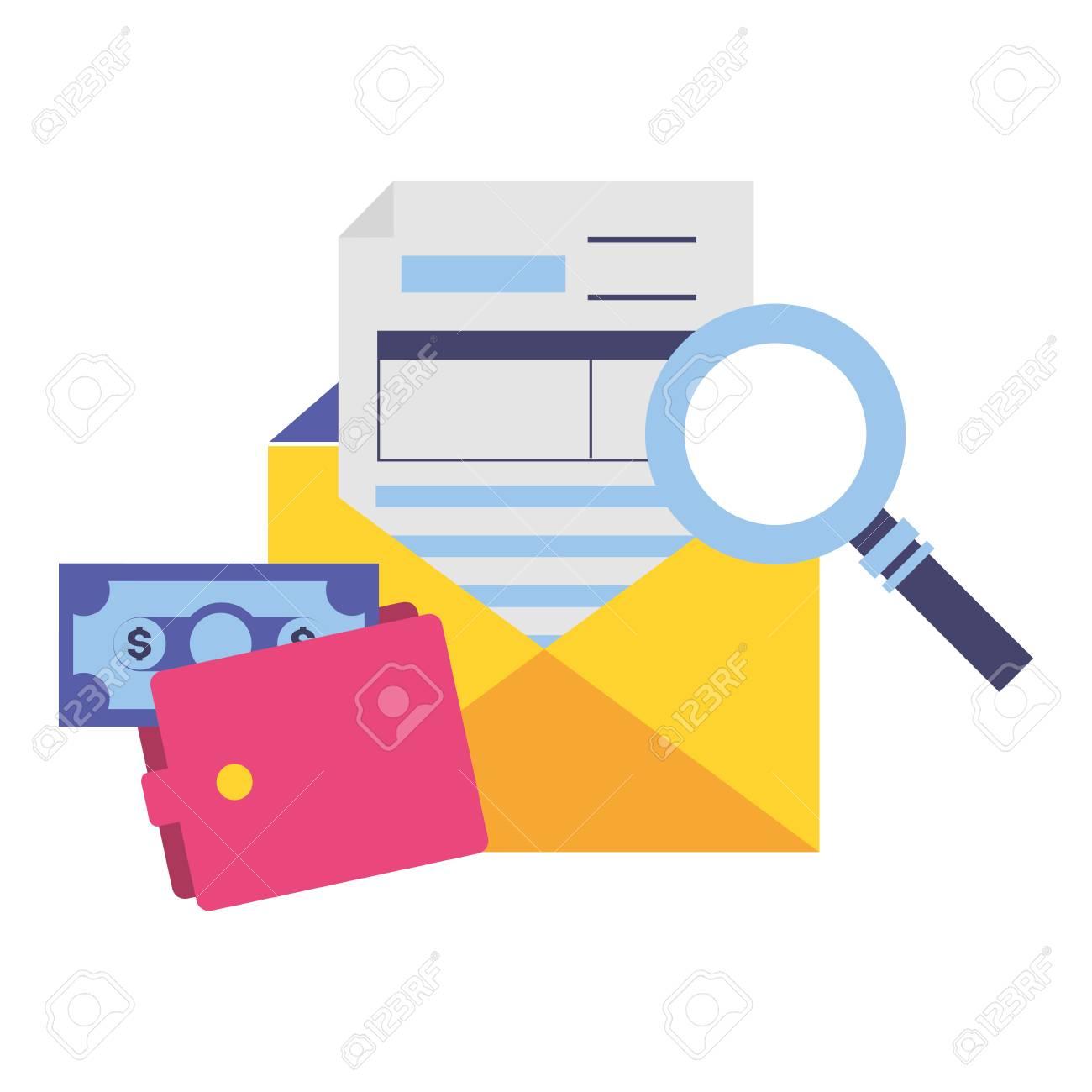 tax payment document wallet money magnifier vector illustration - 121493464