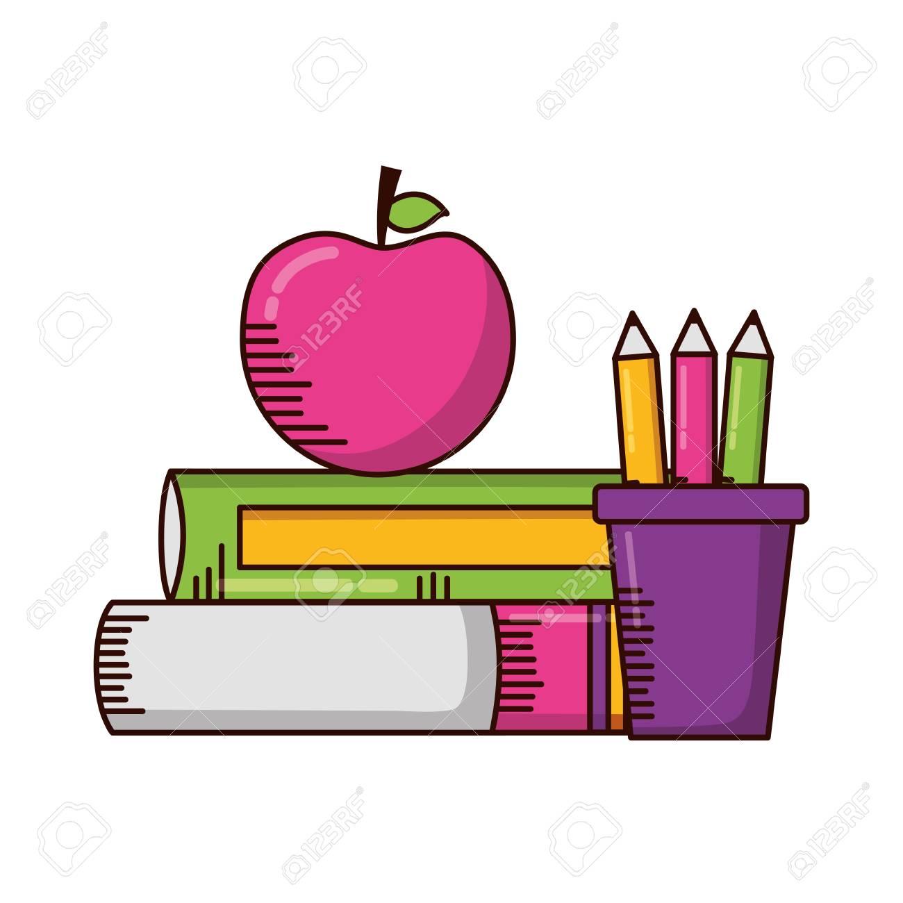 books apple pencils school supplies vector illustration design - 121789449