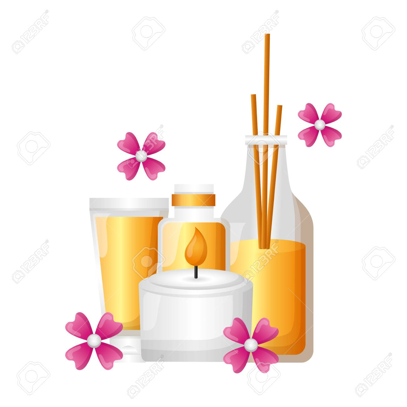 aromatherapy sticks candle lotion flower spa therapy vector illustration - 122646322