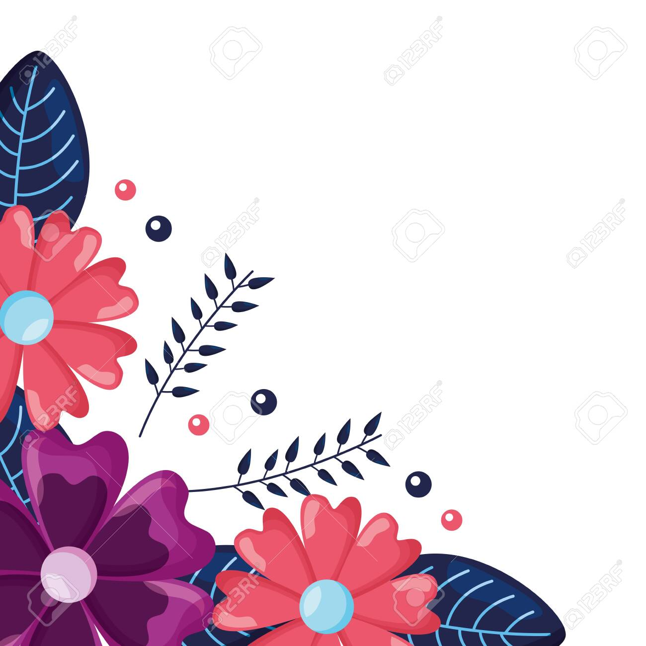 corner decoration natural floral flowers vector illustration royalty free cliparts vectors and stock illustration image 121940564 corner decoration natural floral flowers vector illustration