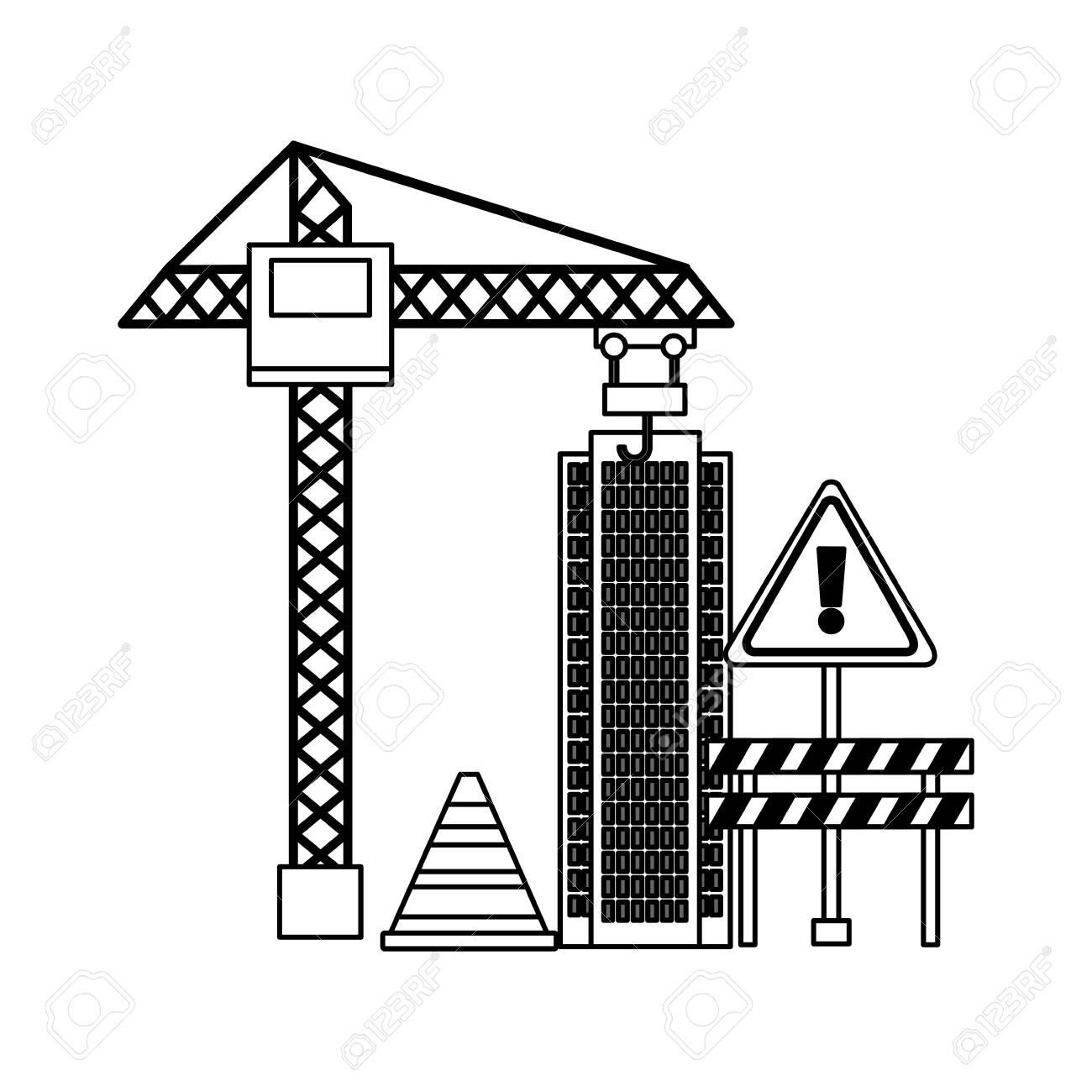 crane construction building barrier caution sign equipment vector illustration - 122575599