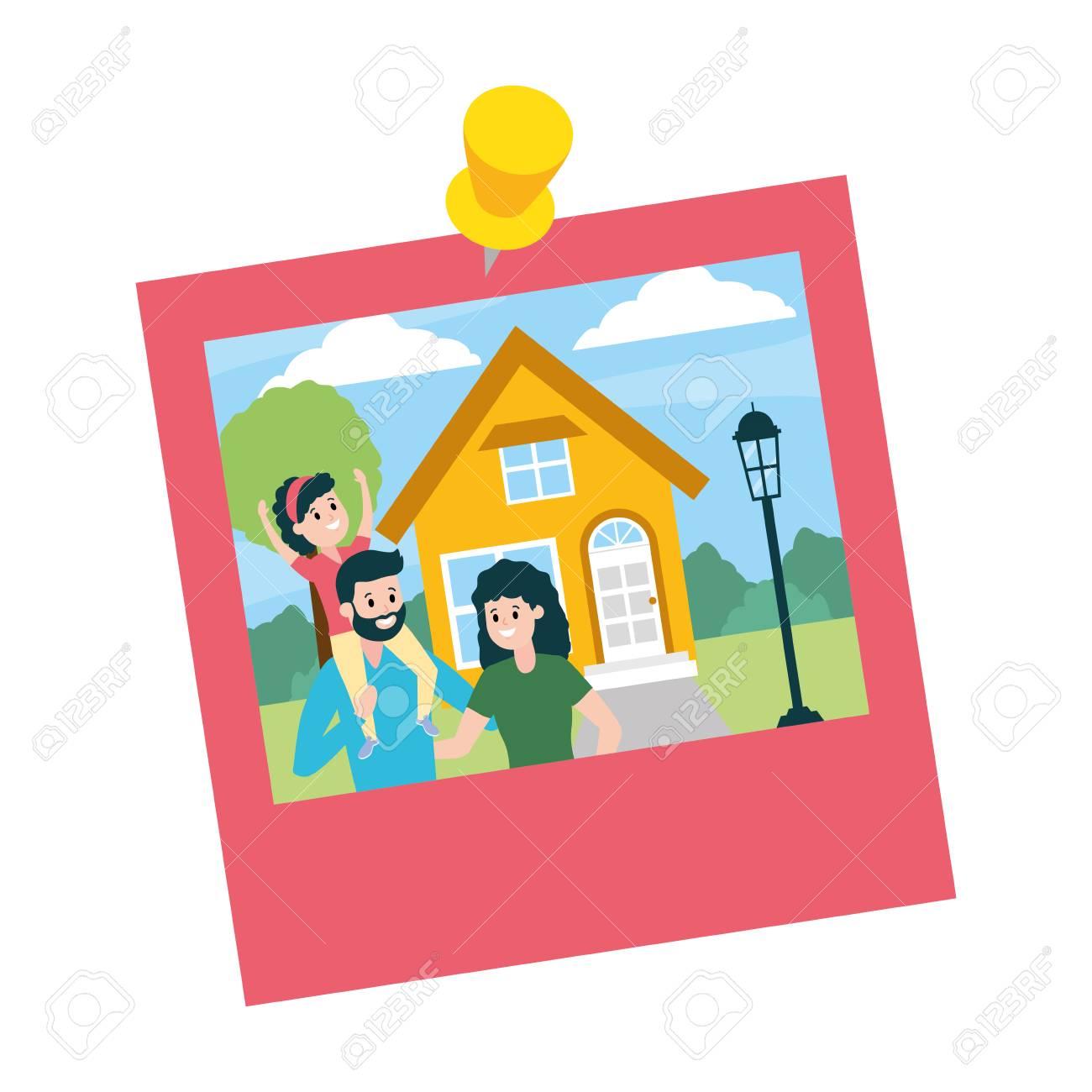 photo family house landscape vector illustration design - 122576176