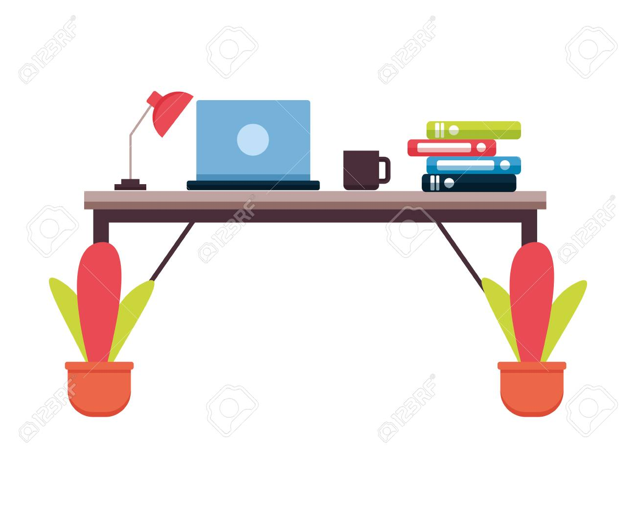 Superb Office Desk Laptop Books Workplace Vector Illustration Interior Design Ideas Clesiryabchikinfo
