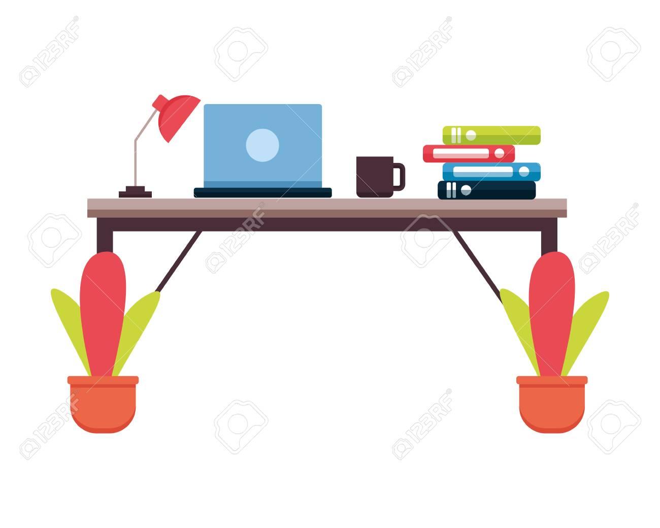 Peachy Office Desk Laptop Books Workplace Vector Illustration Beutiful Home Inspiration Aditmahrainfo