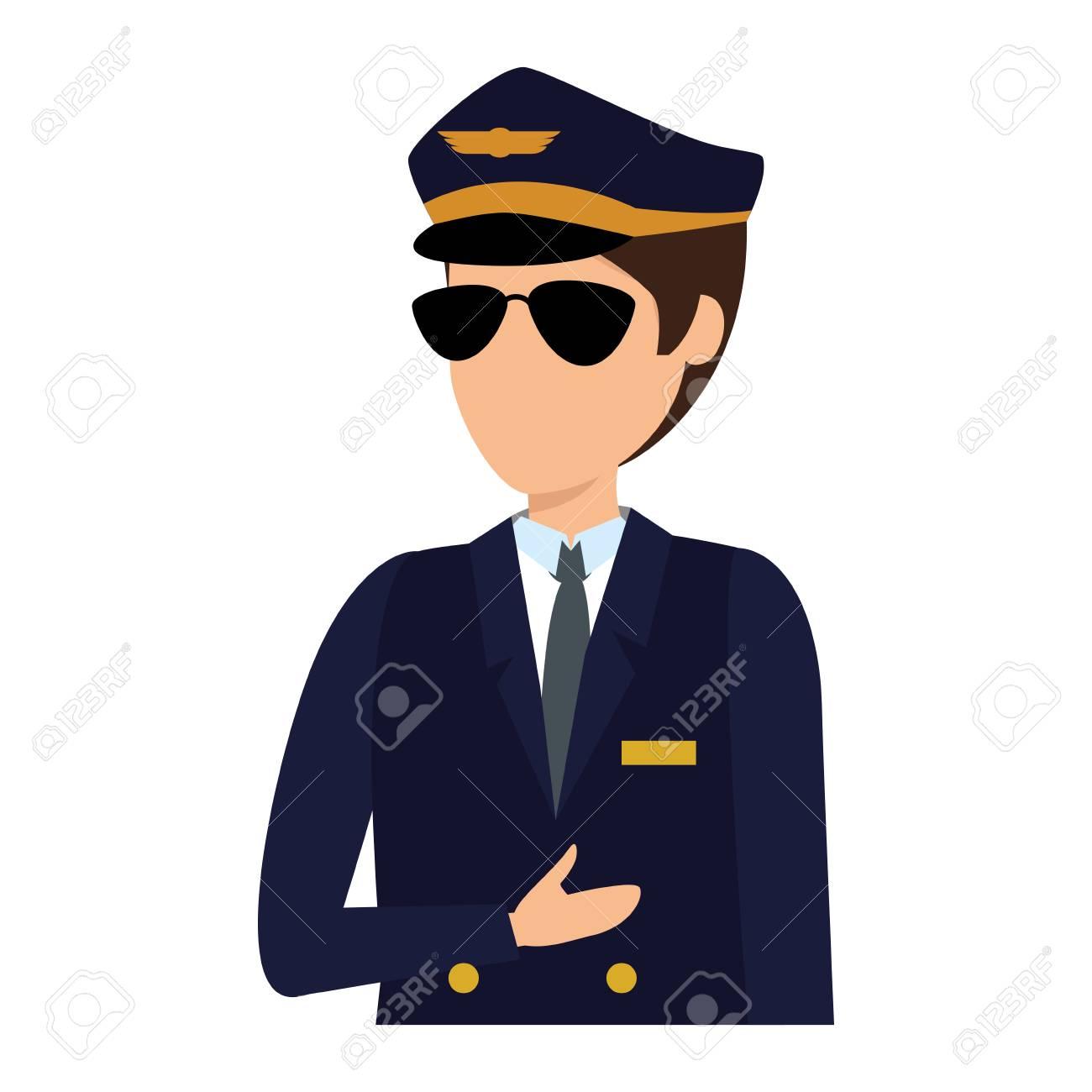 aviation pilot avatar character vector illustration design - 122676595