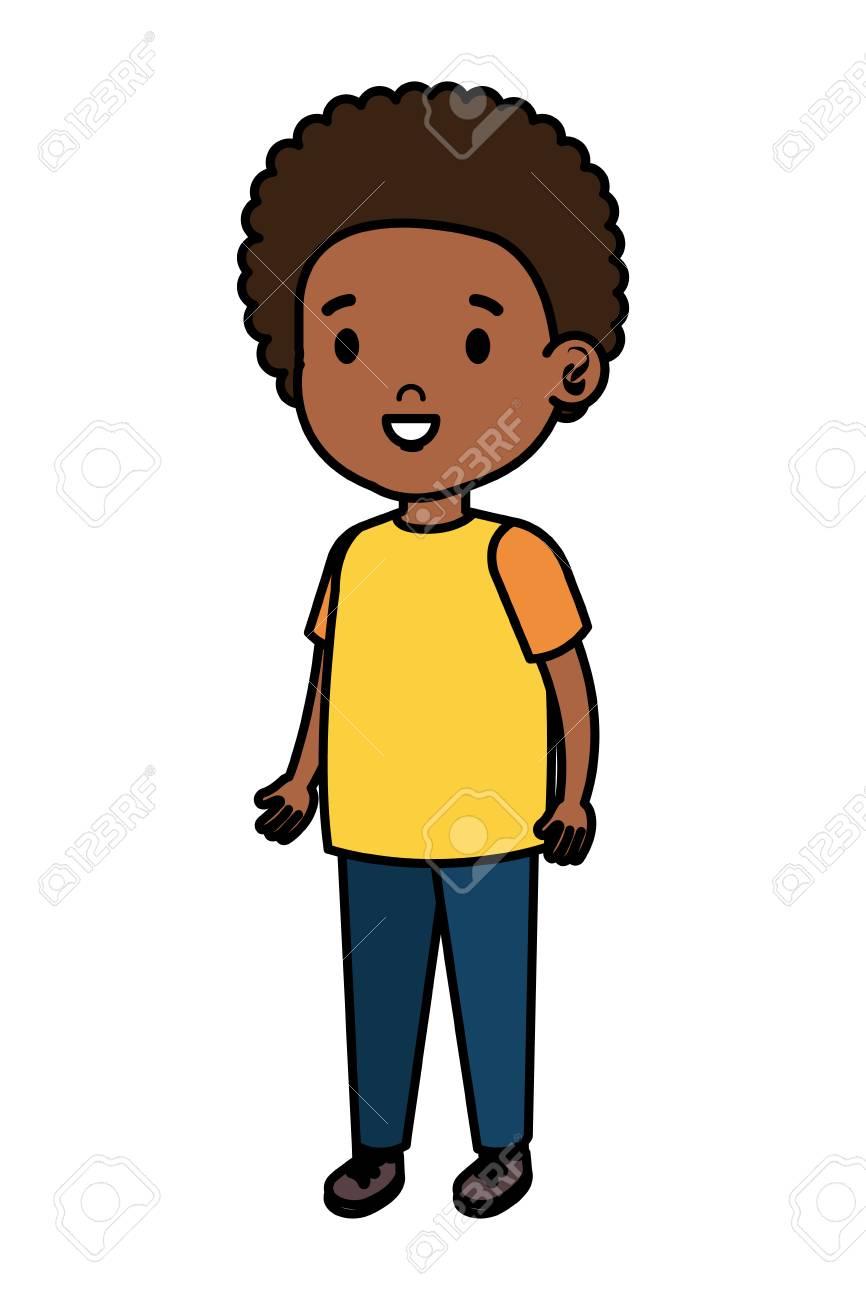 little african boy kid character vector illustration design - 122982439