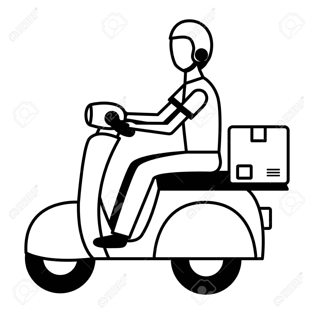 man in motrocycle fast delivery vector illustration - 123039944