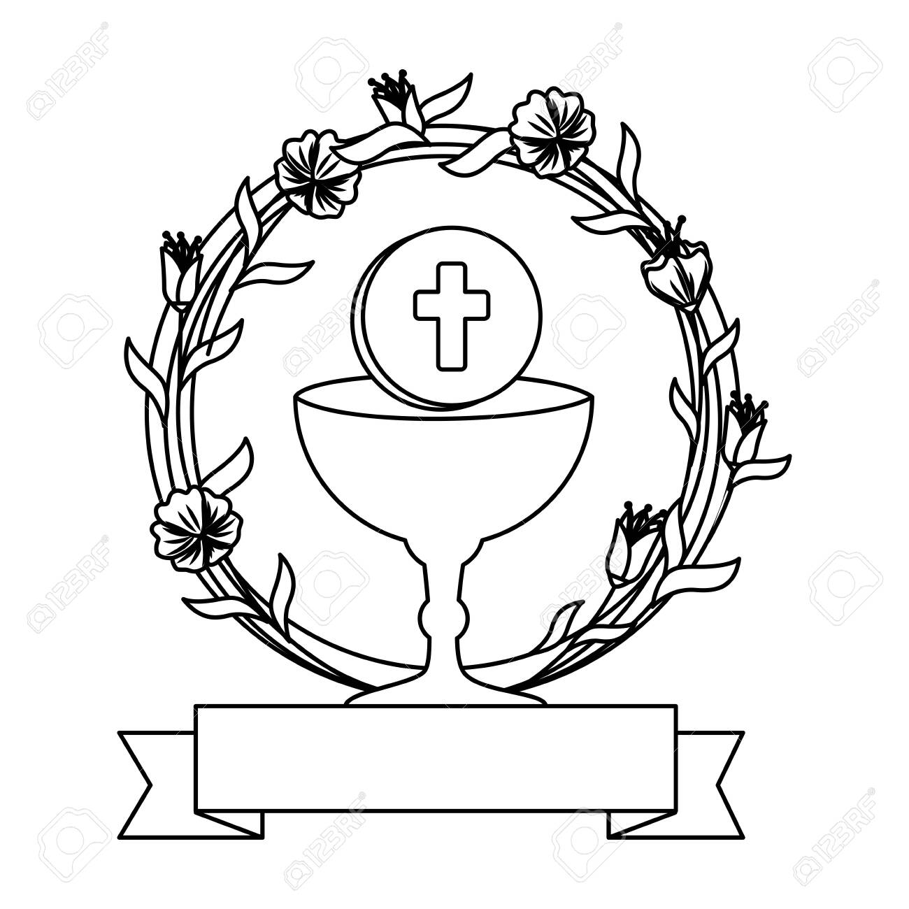 first communion in chalice with floral crown vector illustration design - 124587547