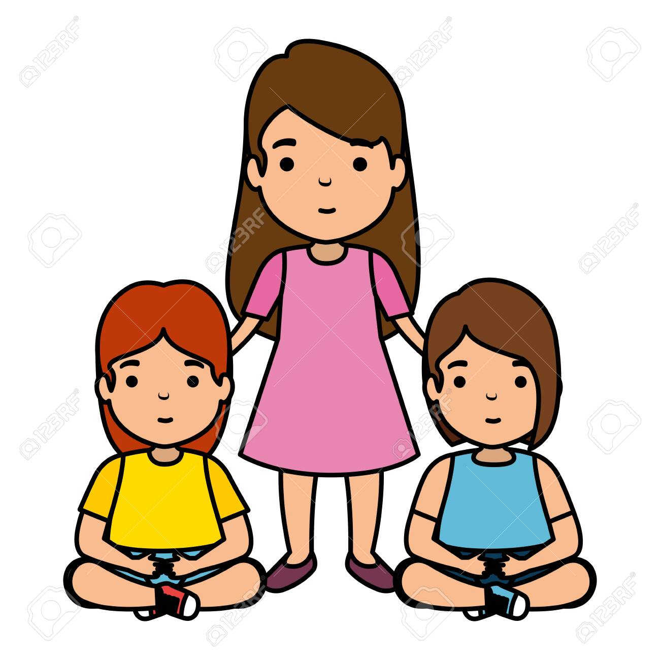 mother with daughters characters vector illustration design