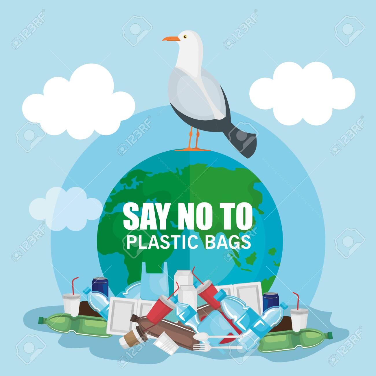 plastics waste pollution and dove bird vector illustration - 124878691