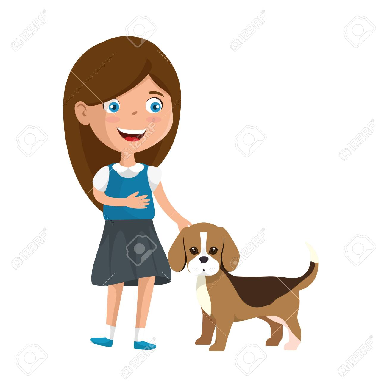 cute little girl with puppy vector illustration design - 124892649