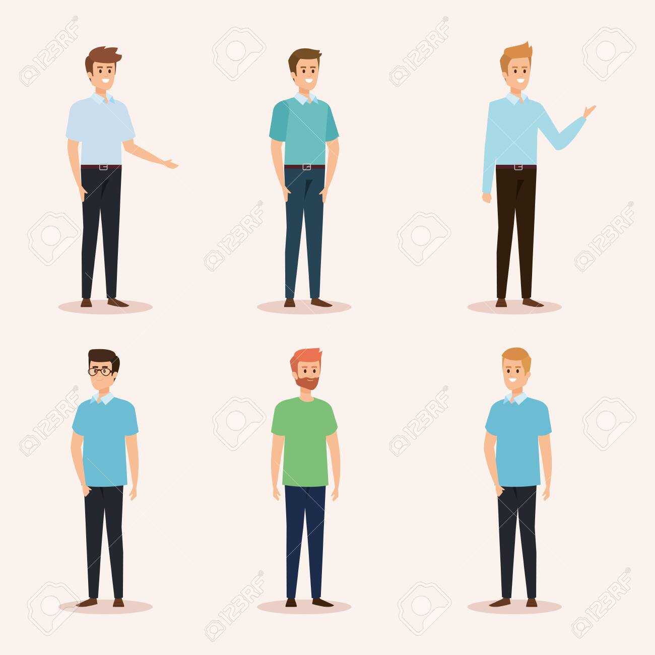 set of nice men with hairstyle and casual clothes vector illustration - 125253819