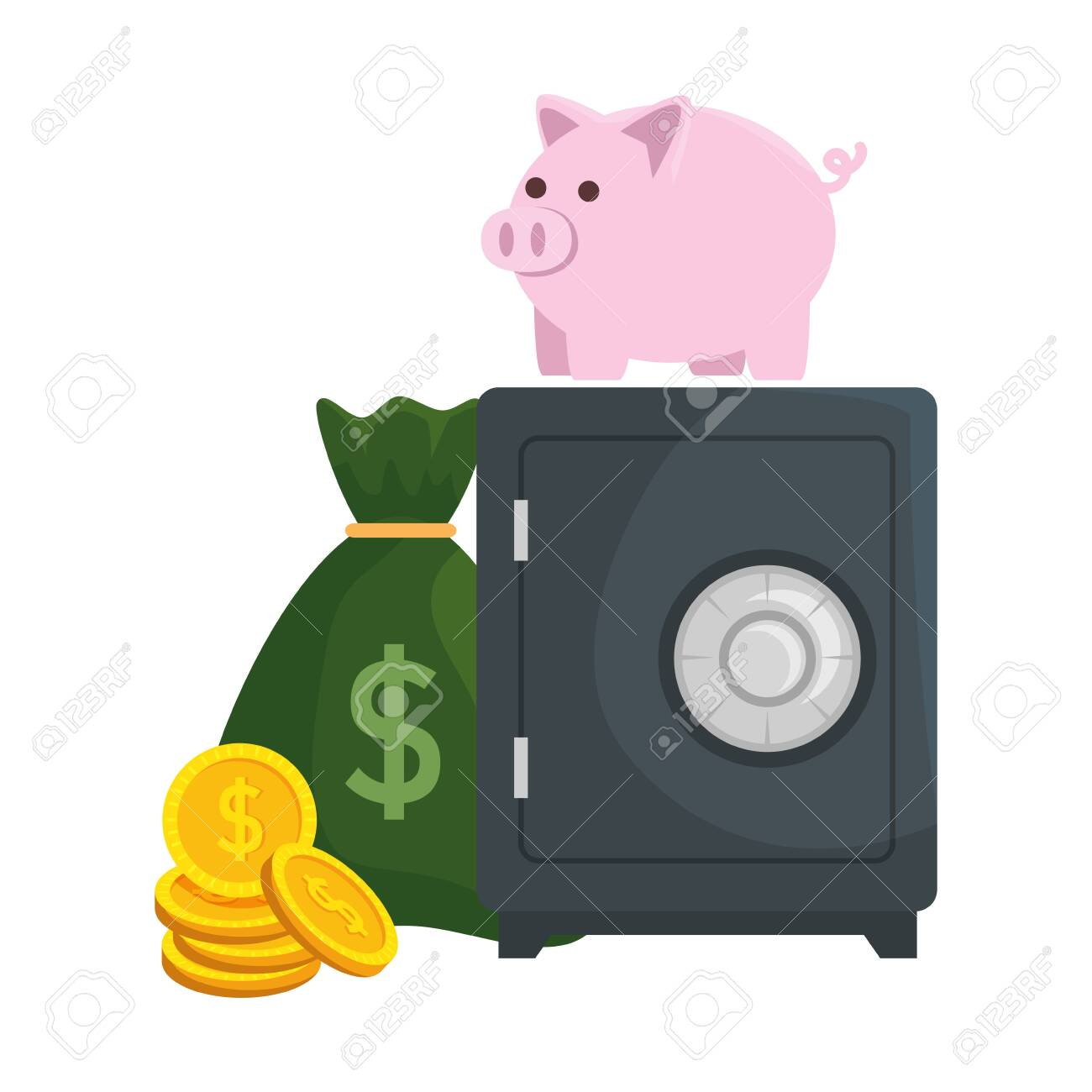 safe box with piggy and money vector illustration design - 125825458