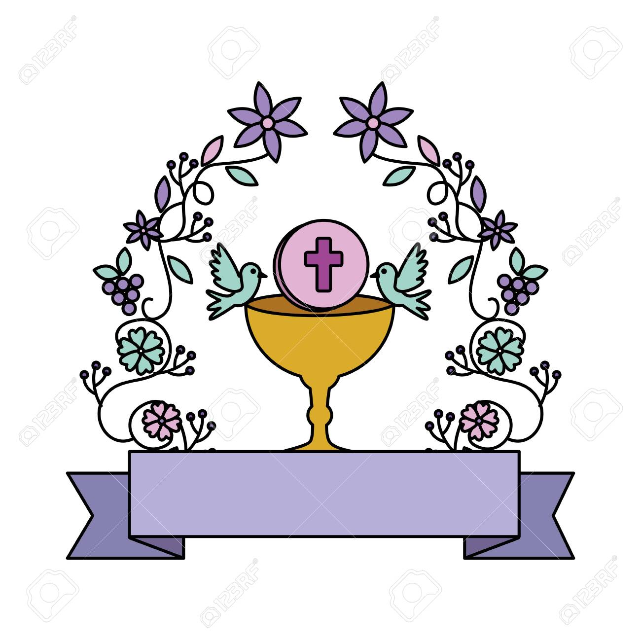first communion in chalice with floral crown vector illustration design - 126315572