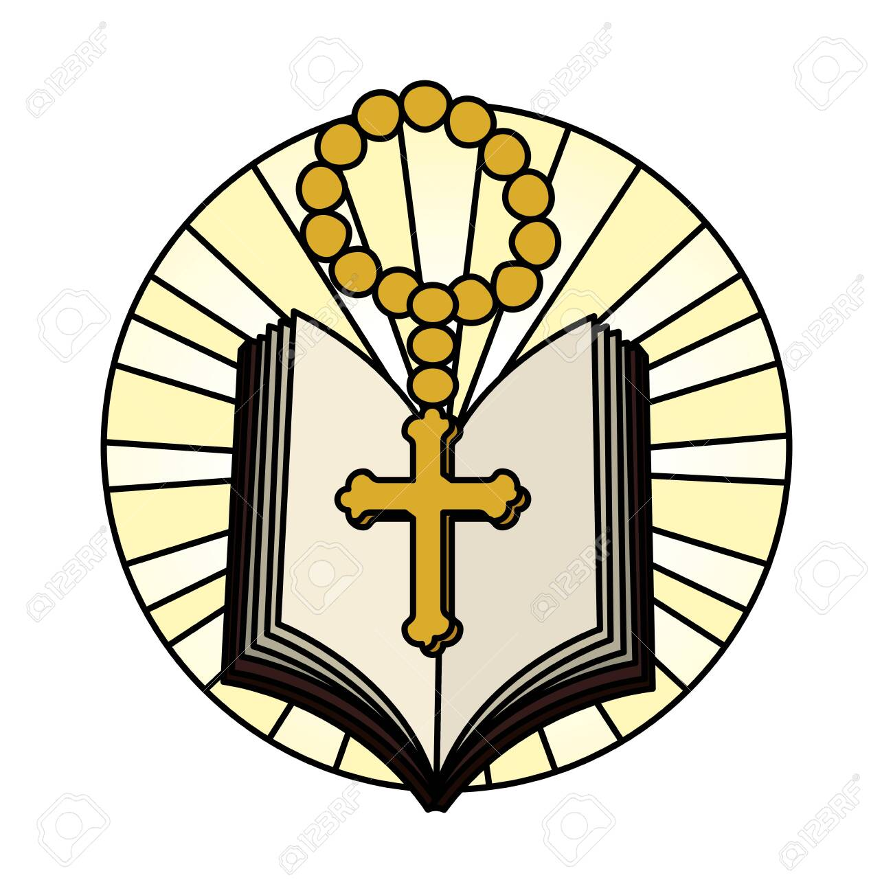 holy bible with rosary vector illustration design - 126320614