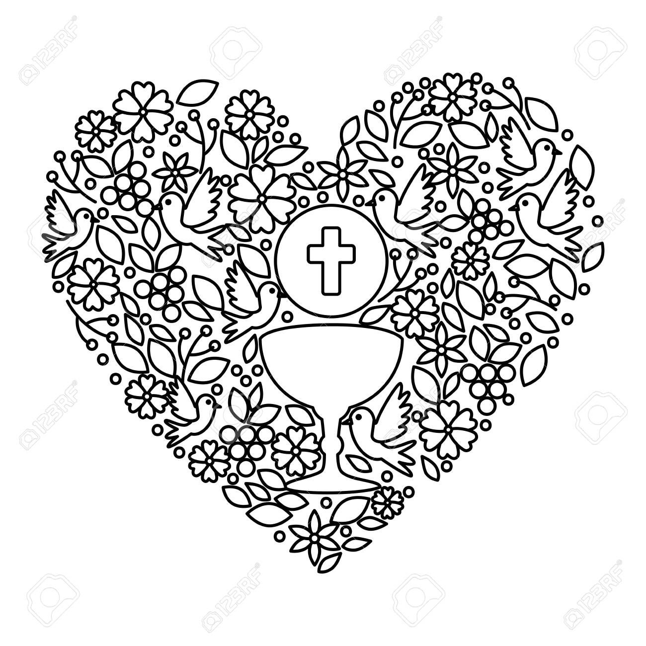 first communion in chalice with floral heart decoration vector illustration design - 126363235