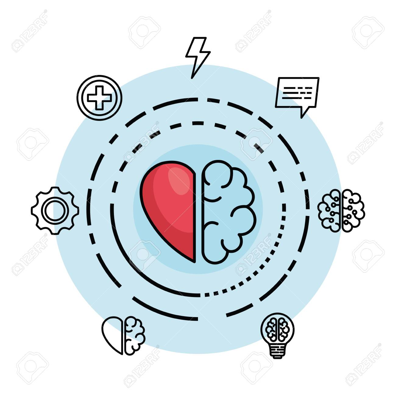 creative brain with heart to creative mind vector illustration - 126607814