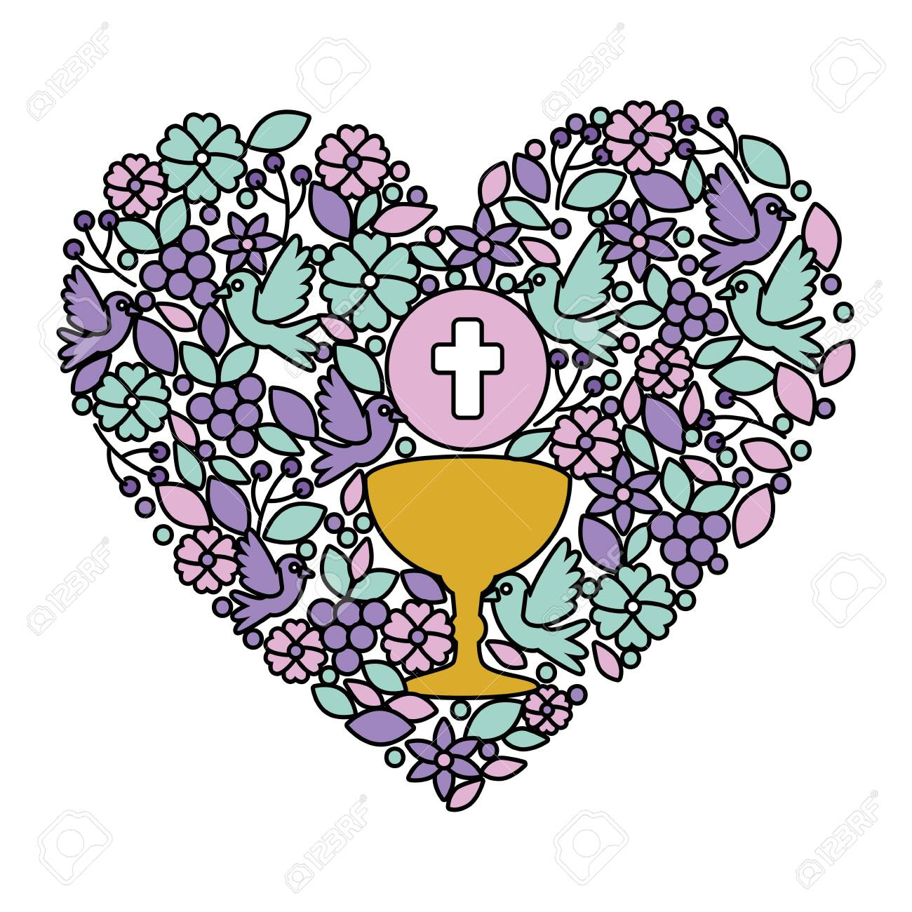first communion in chalice with floral heart decoration vector illustration design - 127642675