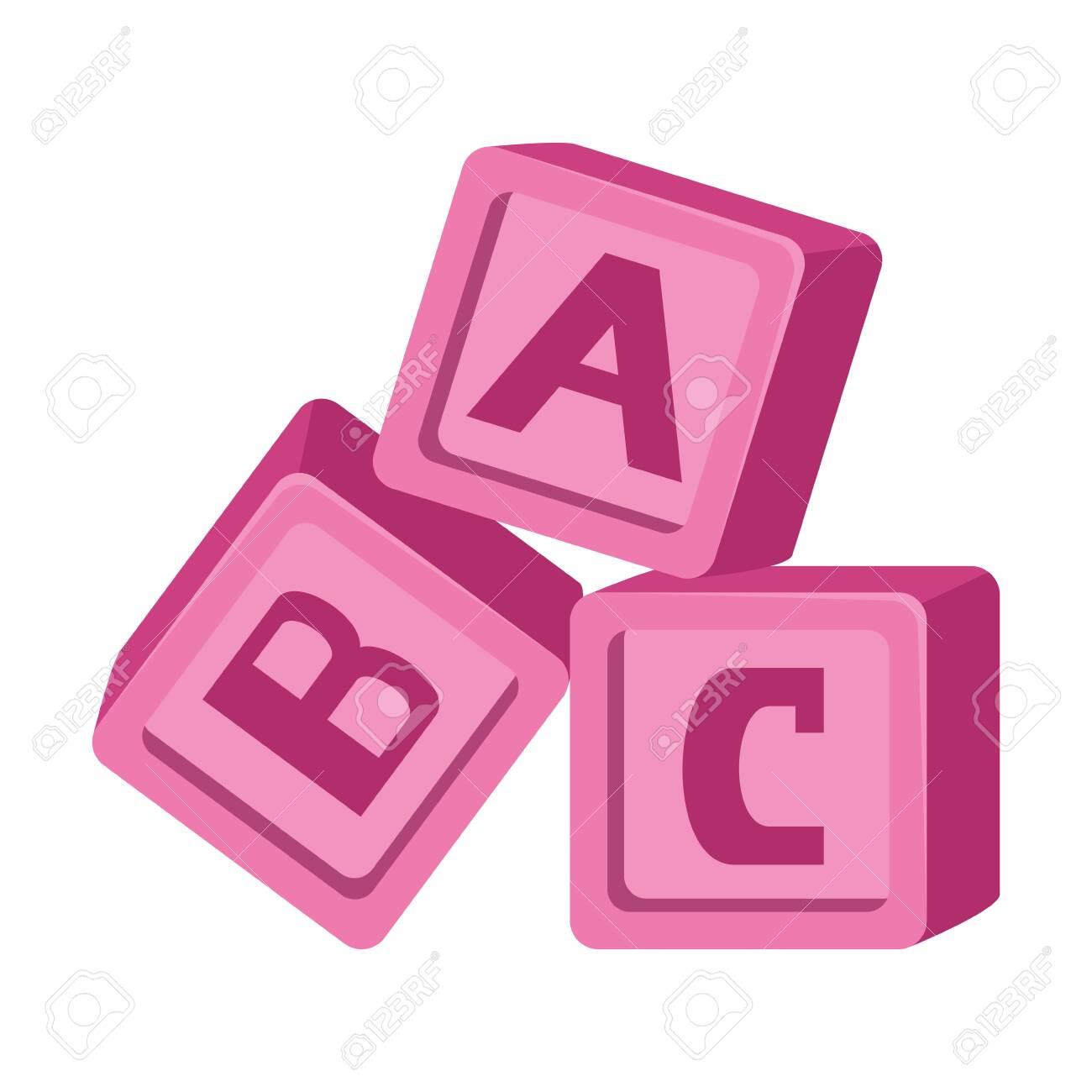alphabet blocks toys baby icons vector illustration design - 127935813
