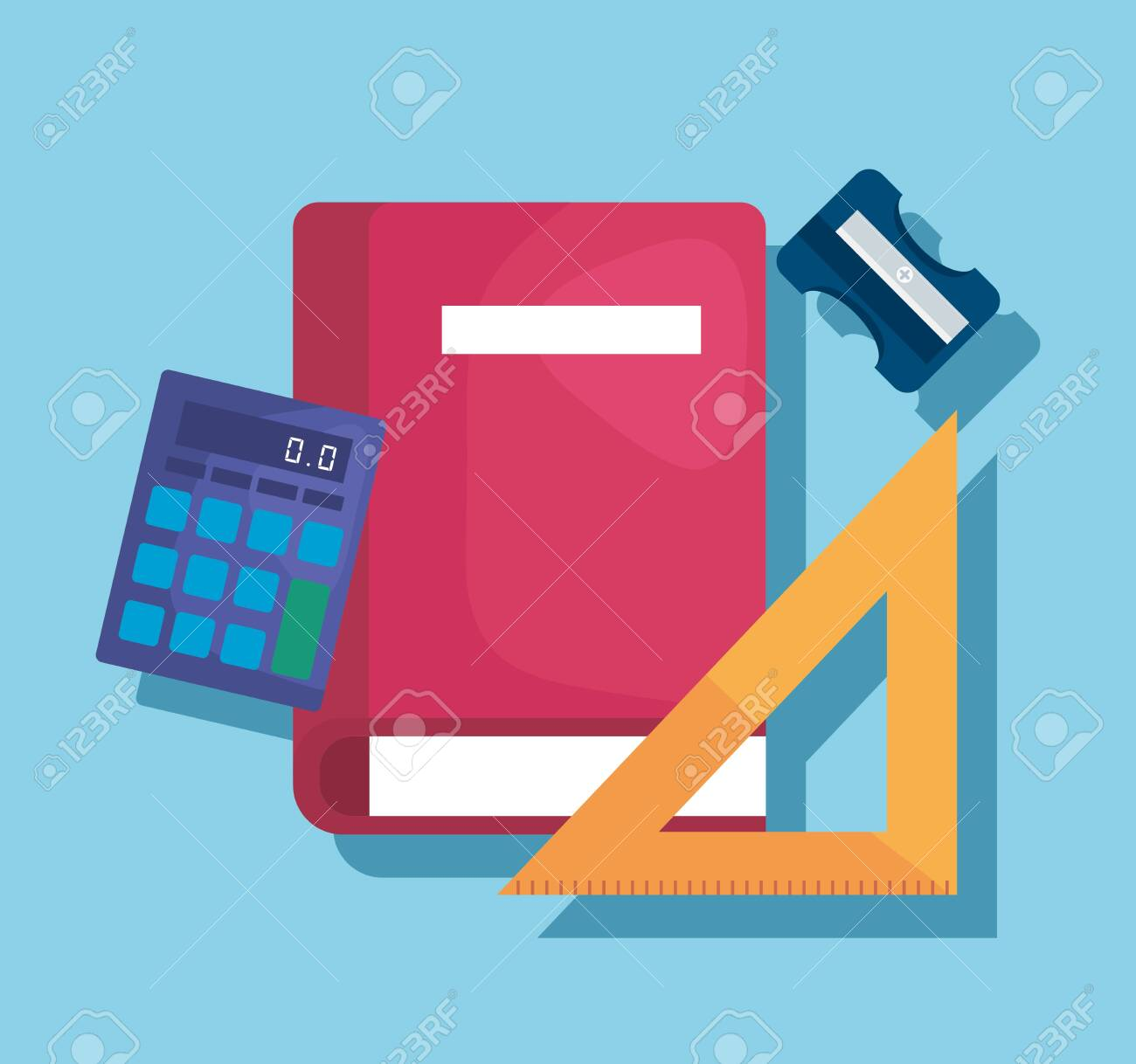 book with triangle ruler and calculator elementary suppies to back to school vector illustration - 128306391